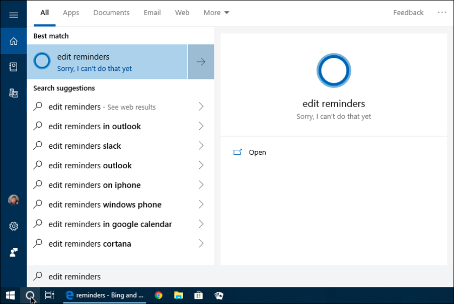cortana edit reminders - not available