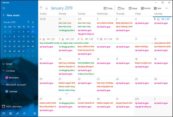 microsoft windows calendar