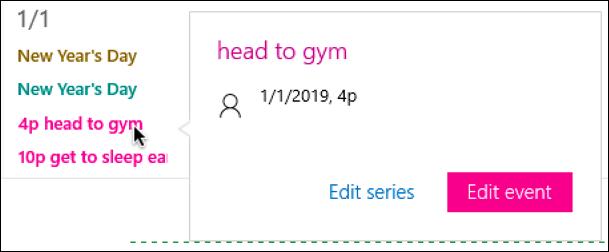 edit cortana reminder in windows calendar