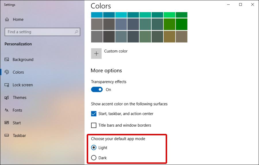 win10 windows 10 - display preferences - color