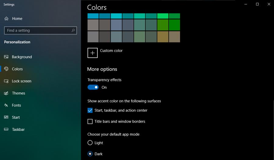 win10 settings preferences - display color - dark mode
