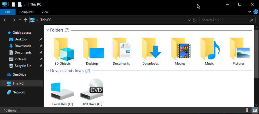win10 windows file explorer, light dark mode