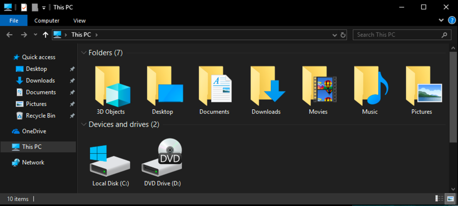 windows 10 file explorer - dark mode
