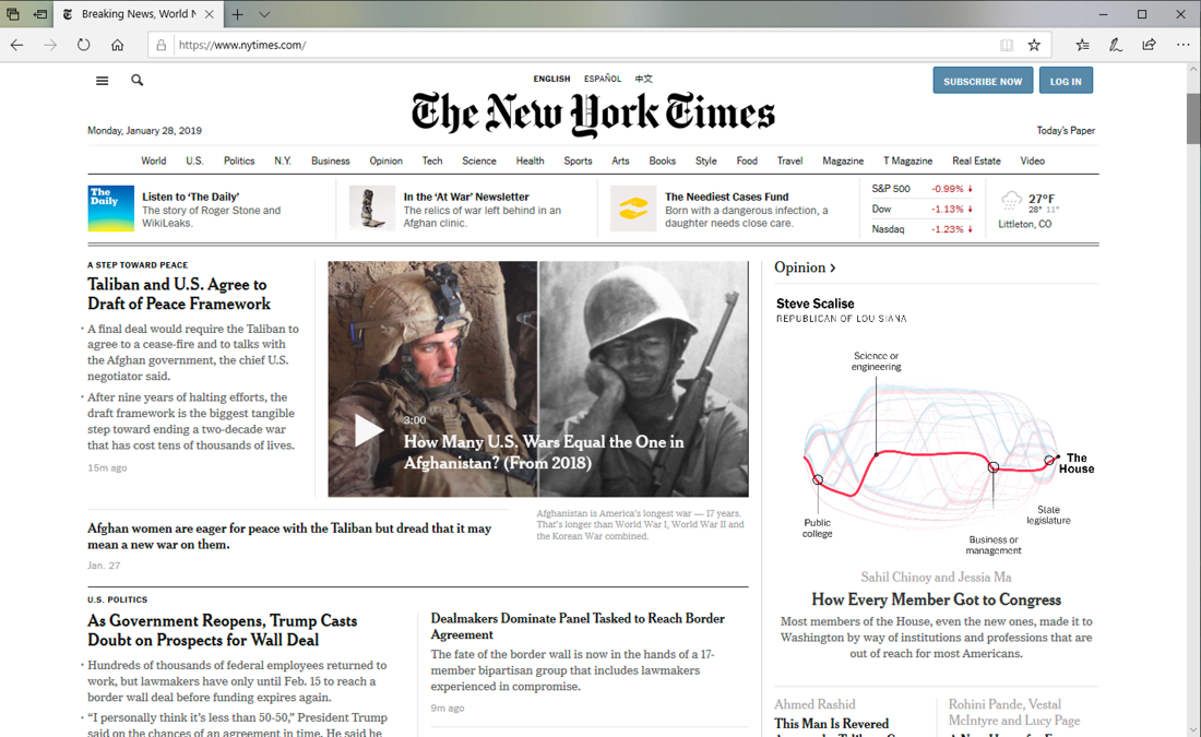 new york times.com home page