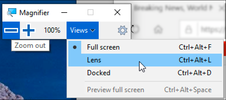 windows magnifier controls