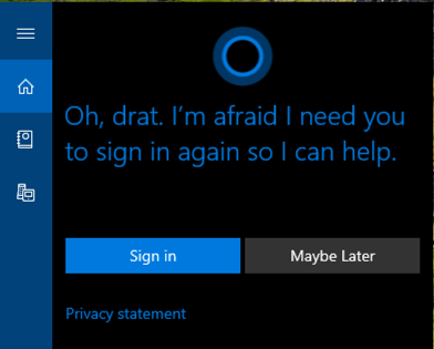 cortana disconnected live account log in