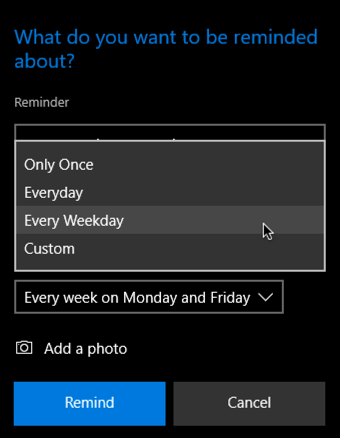 cortana how frequent frequency reminder