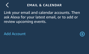 email and calendar account - amazon alexa