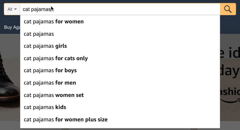 amazon cat pajamas suggested search
