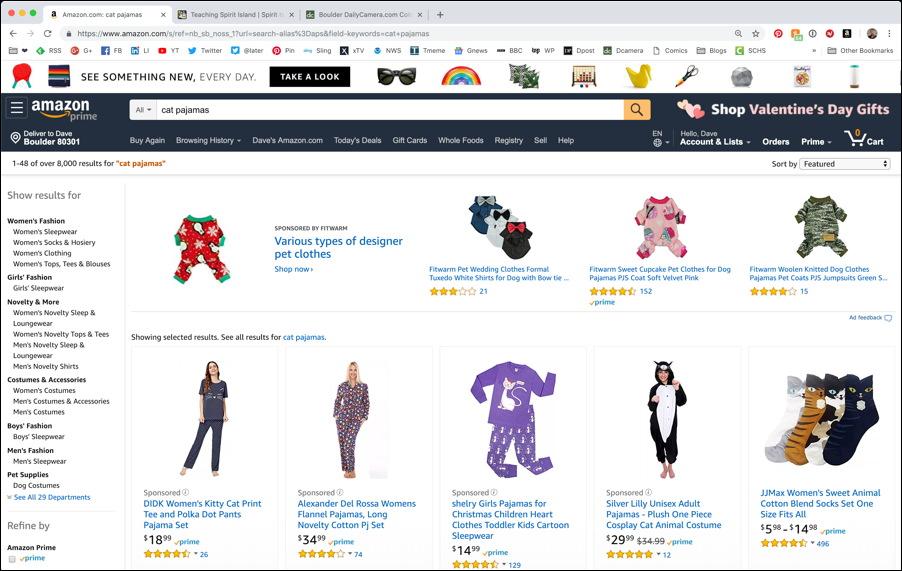 amazon search result: cat pajamas