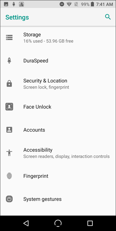android 8.0 settings > face unlock