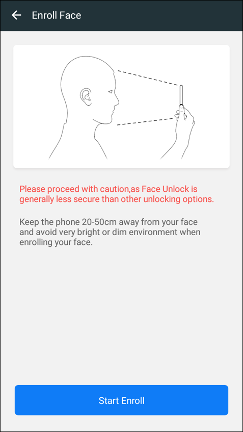 how to set up enroll turn on face unlock android