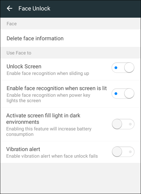enabled turned on face unlock android 8 oreo