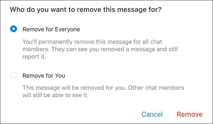 unsend remove facebook messenger message text