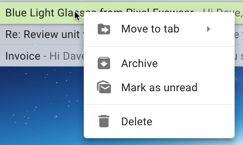 context menu, gmail kiwi mac