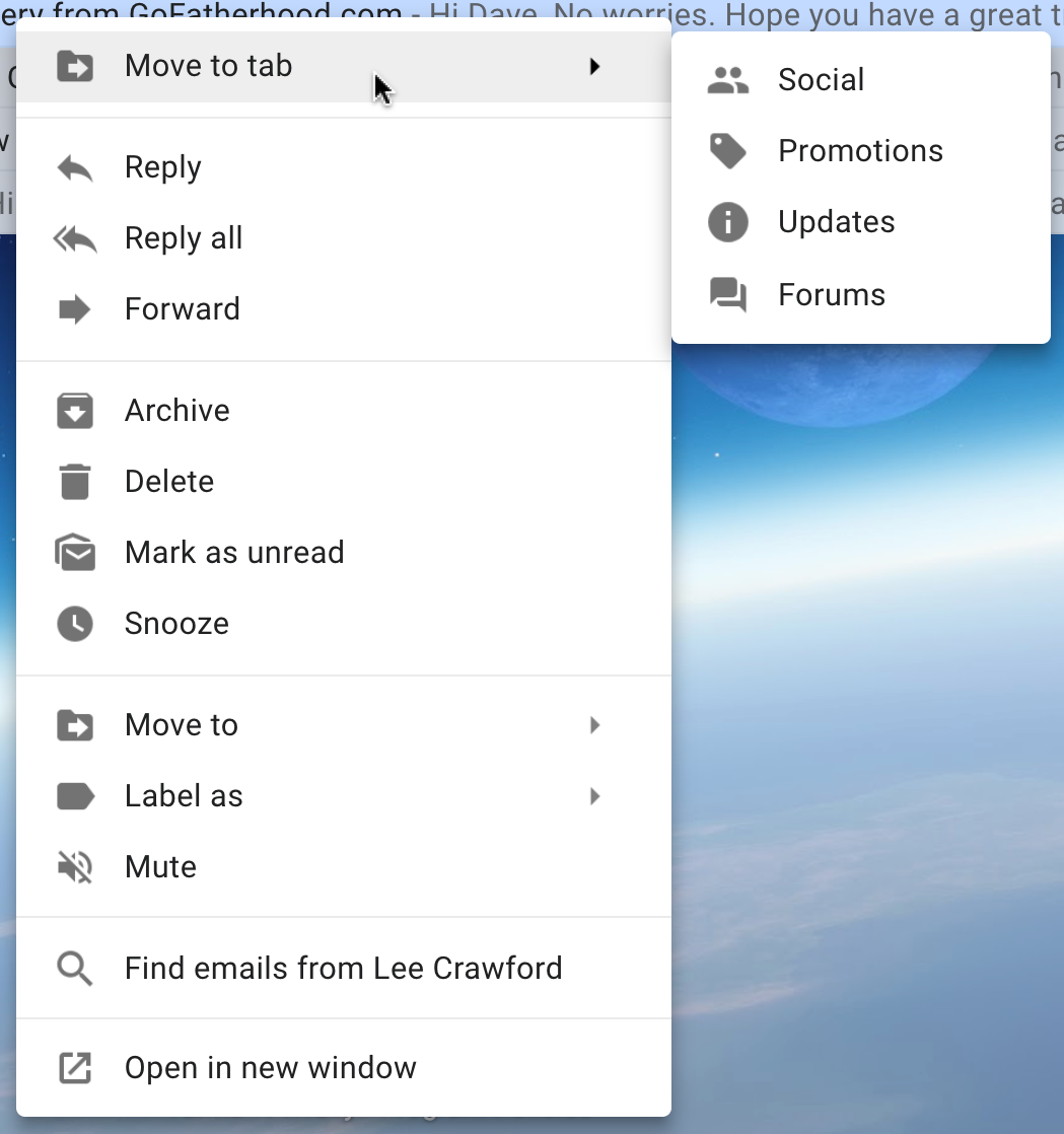 gmail right click context menu