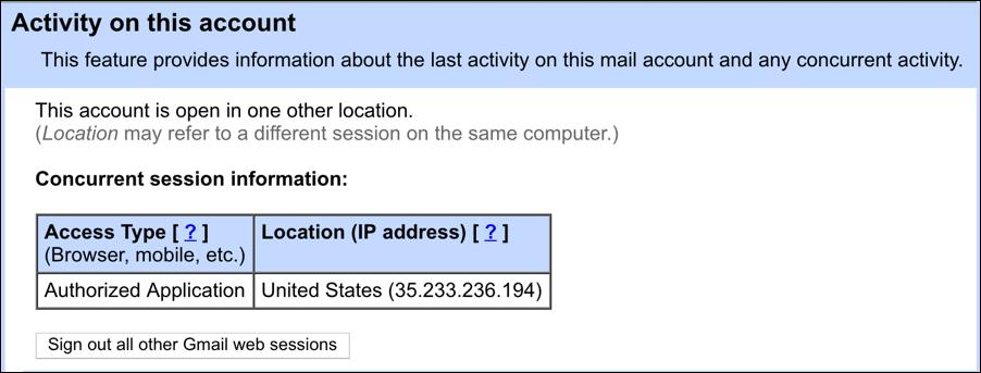 gmail security pop up window logins