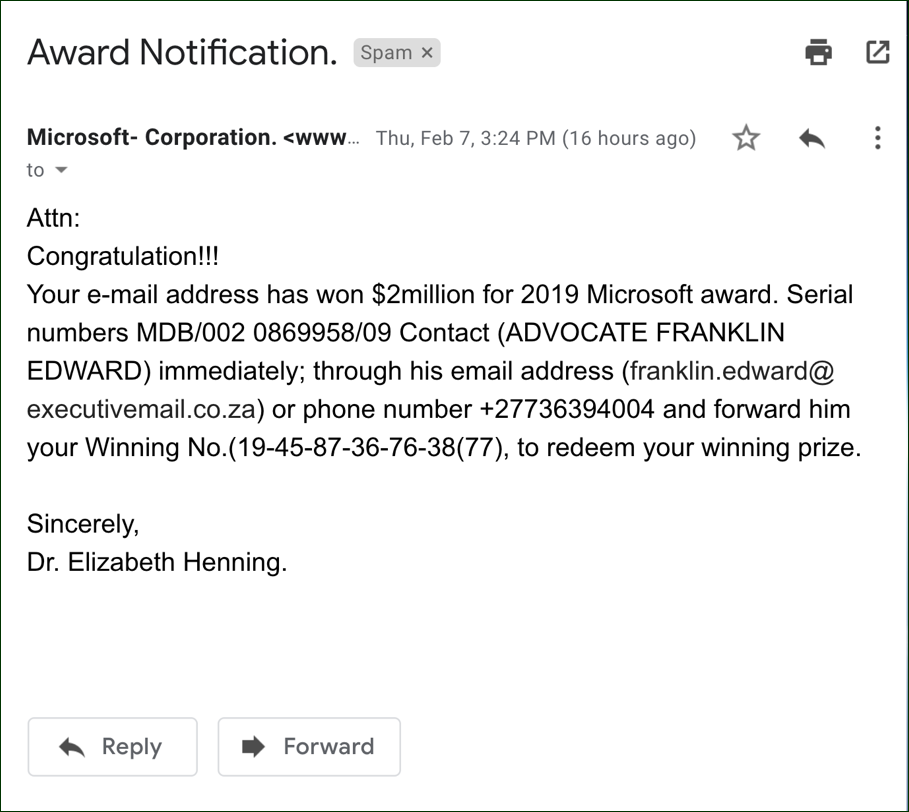 microsoft $2 million award prank scam email
