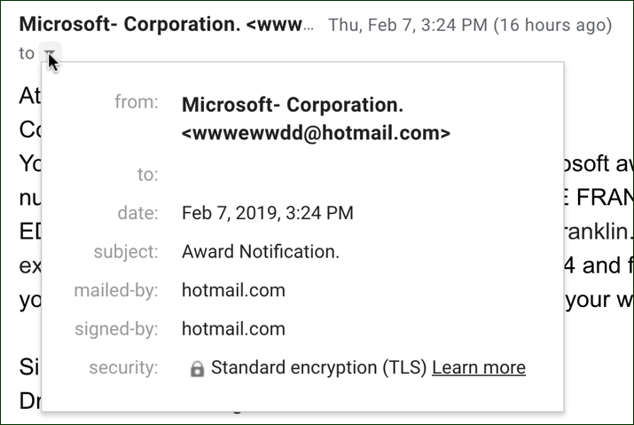 microsoft scam spam phishing email headers