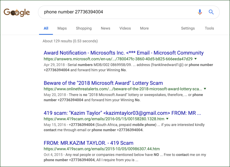 google search scam phishing phone number