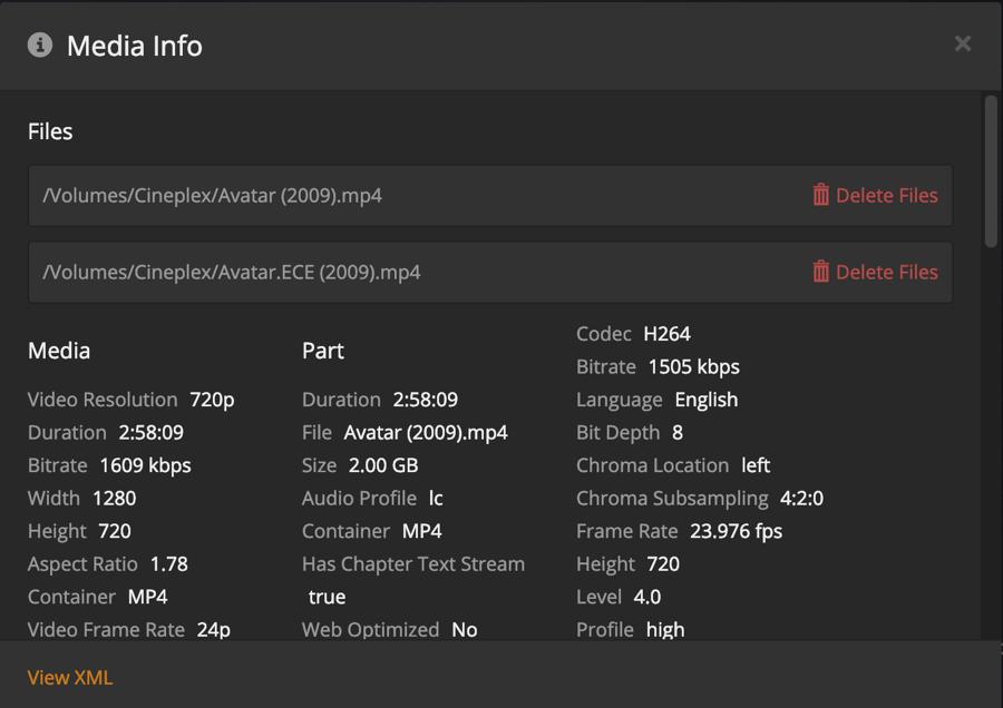 plex 'file info' window