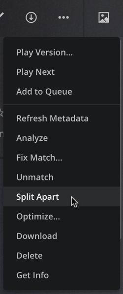plex media menu - split apart
