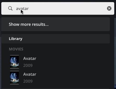 plex search - avatar - two matches