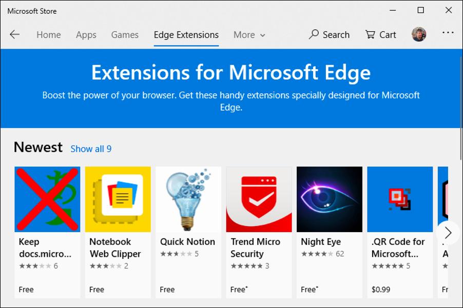 microsoft app store - extensions microsoft edge