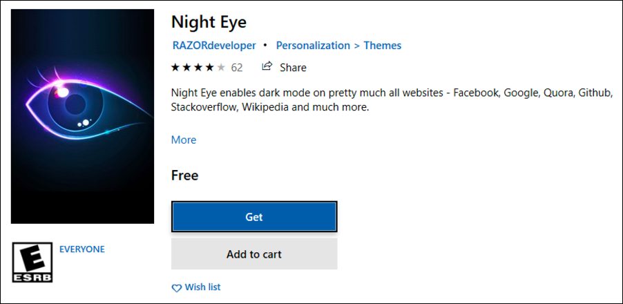 microsoft edge extension - night eye