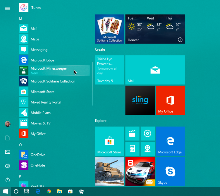 find minesweeper on start menu