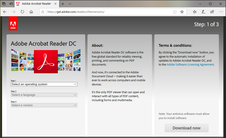get.adobe.com main web page