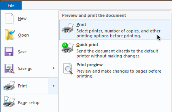 wordpad win10 file > print