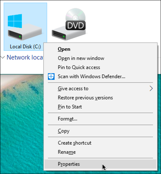 windows 10 - right click on hard drive - menu