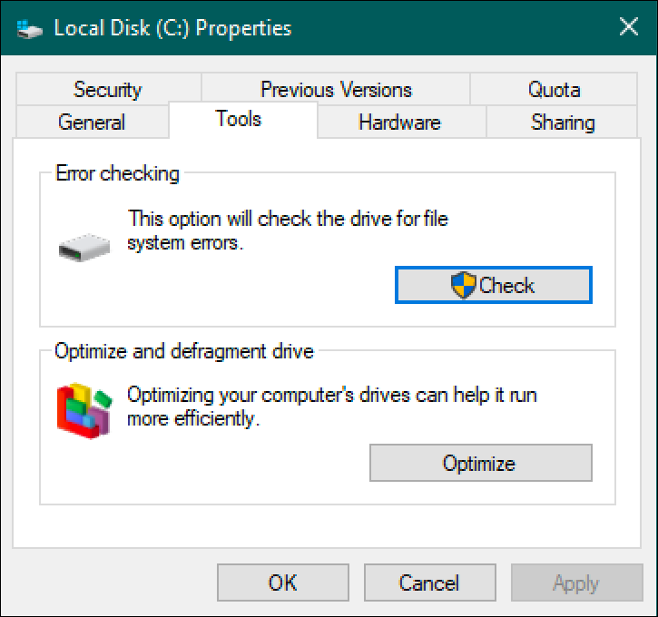 windows disk properties - tools tab