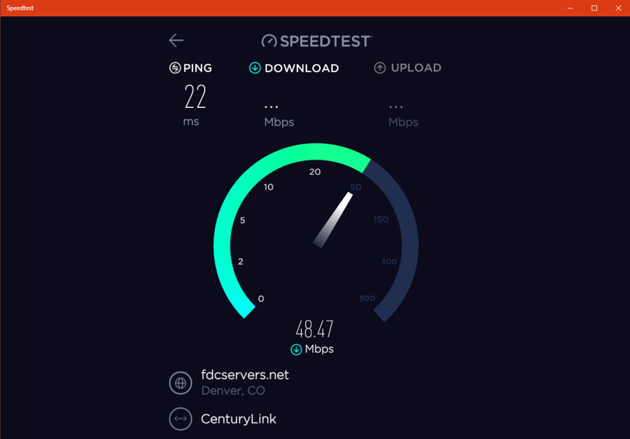 speedtest by ookla windows win10 running