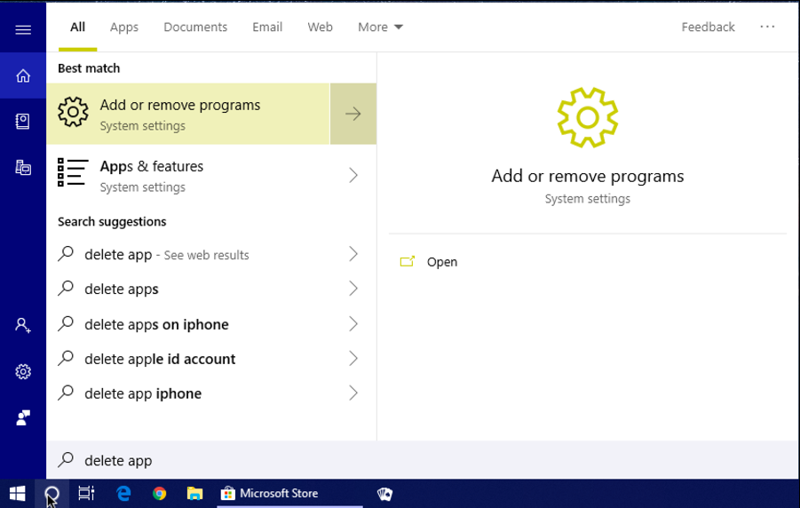 windows 10 start cortana search 'delete app'