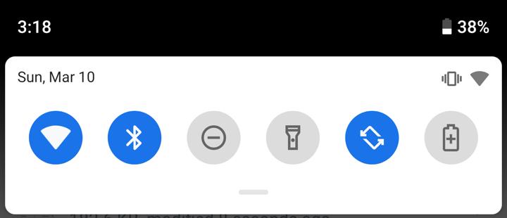 android 9 pull down settings menu