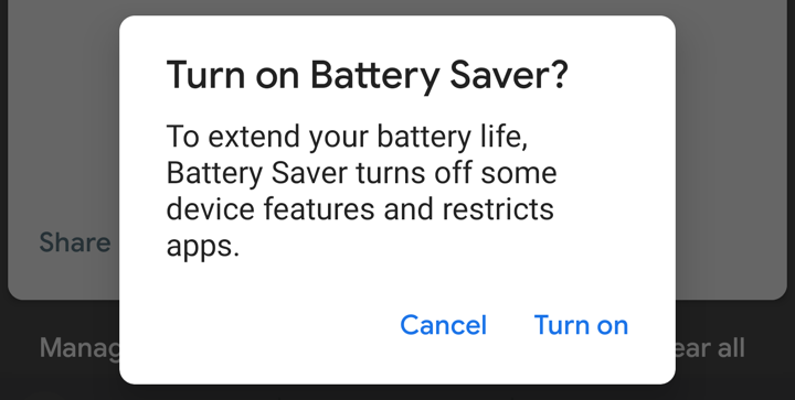 Turn on battery saver confirmation window
