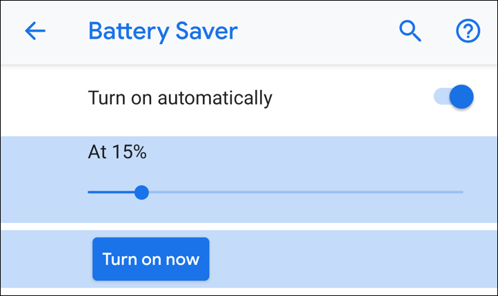 android pie 9 battery saver automatic