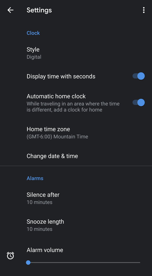 pixel 3 android clock alarm settings preferences