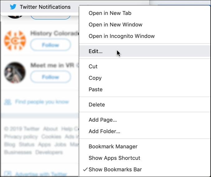 edit a google chrome bookmark menu