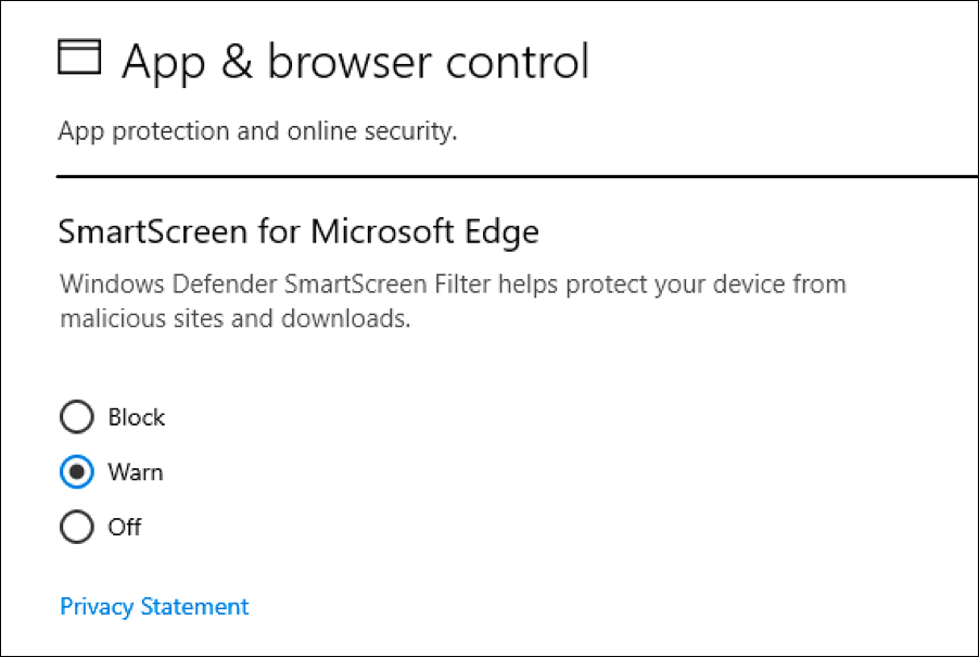 windows defender web browser protection settings
