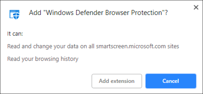 add windows defender extension to chrome?