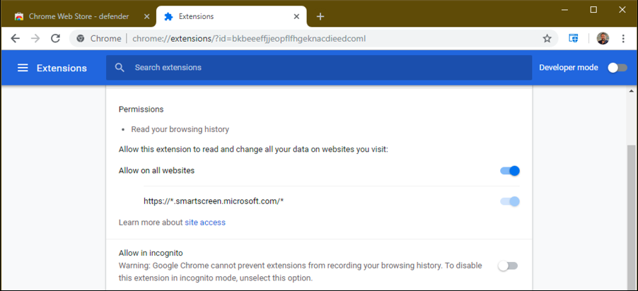 google chrome page with windows defender extension enabled