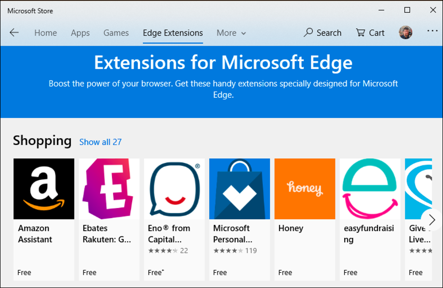 microsoft store - edge extensions