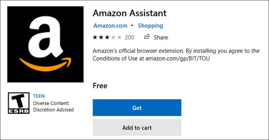 amazon assistant edge extension - windows store