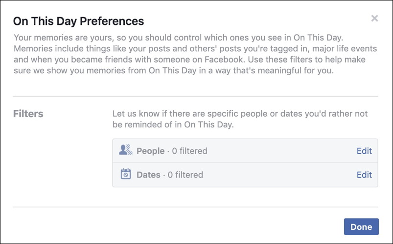 filter exclude stop facebook memories name date