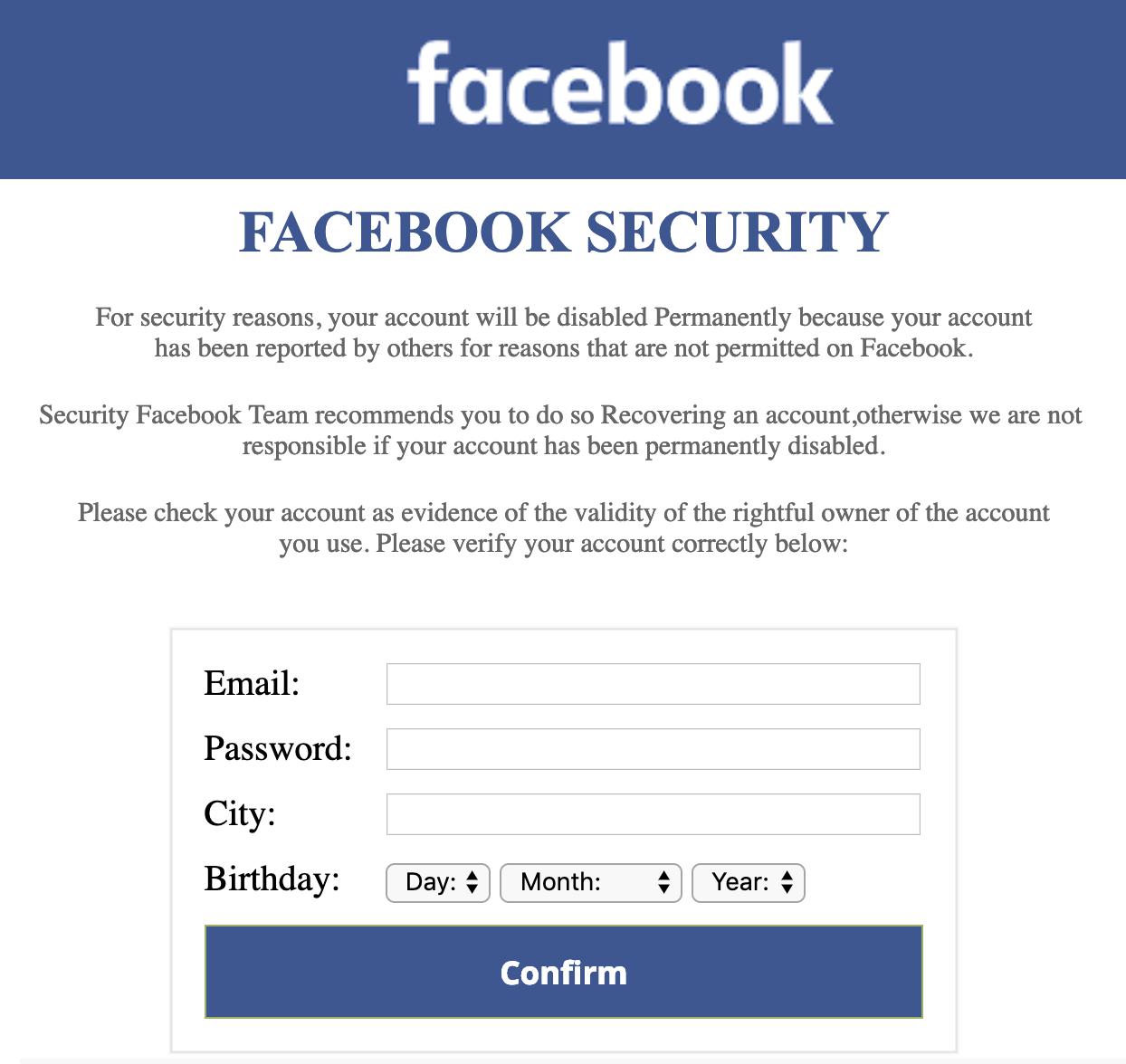 bogus fake phishing facebook security warning confirm login