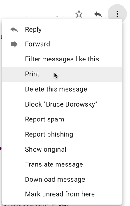 gmail individual message email options menu