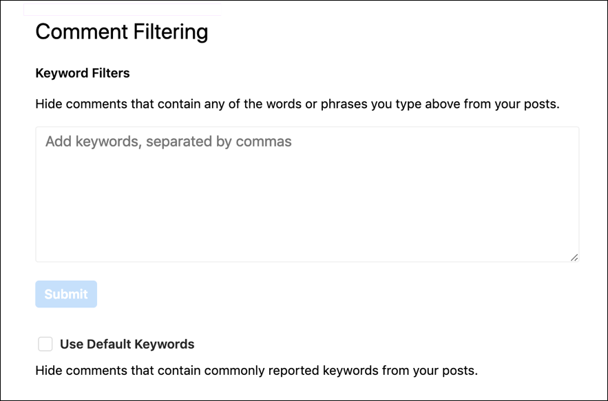 instagram comment settings preferences filter filtering